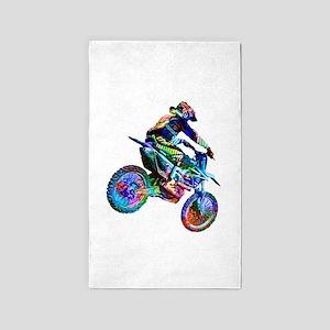 Super Crayon Colored Dirt Bike Careening Area Rug