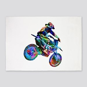 Super Crayon Colored Dirt Bike Care 5'x7'Area Rug