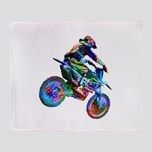Super Crayon Colored Dirt Bike Caree Throw Blanket