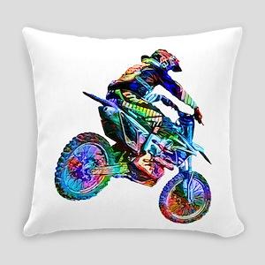Super Crayon Colored Dirt Bike Car Everyday Pillow
