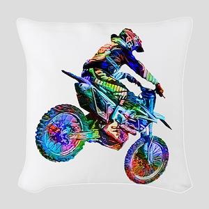Super Crayon Colored Dirt Bike Woven Throw Pillow
