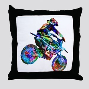 Super Crayon Colored Dirt Bike Careen Throw Pillow