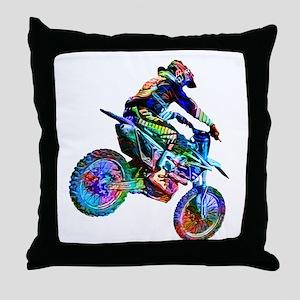 Super Crayon Colored Dirt Bike Careen Throw Pillow