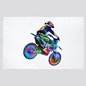 Super Crayon Colored Dirt Bike Careeni 4' x 6' Rug