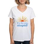 Global Warming Sun Women's V-Neck Tee