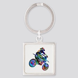 Super Crayon Colored Dirt Bike Careening Keychains