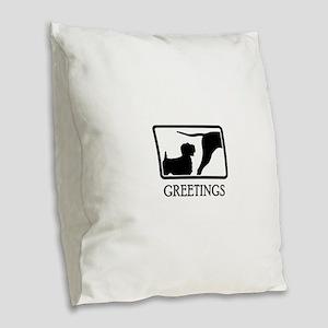 Sealyham Terrier Burlap Throw Pillow