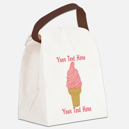Personalized Pink Ice Cream Canvas Lunch Bag