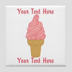 Personalized Pink Ice Cream Tile Coaster