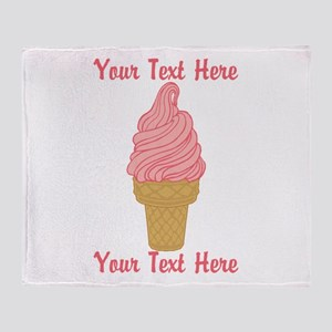 Personalized Pink Ice Cream Throw Blanket