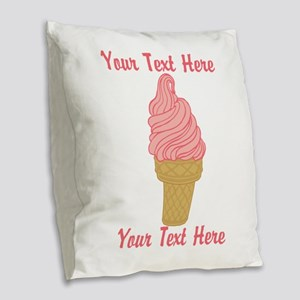 Personalized Pink Ice Cream Burlap Throw Pillow