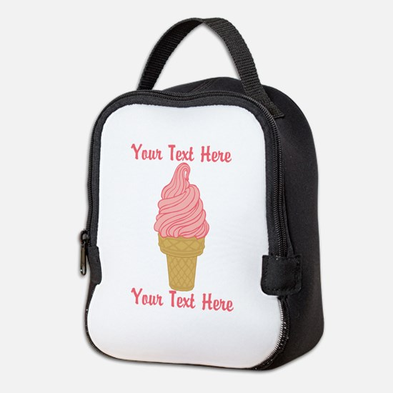 Personalized Pink Ice Cream Neoprene Lunch Bag