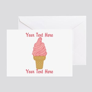 Personalized Pink Ice Cream Greeting Card