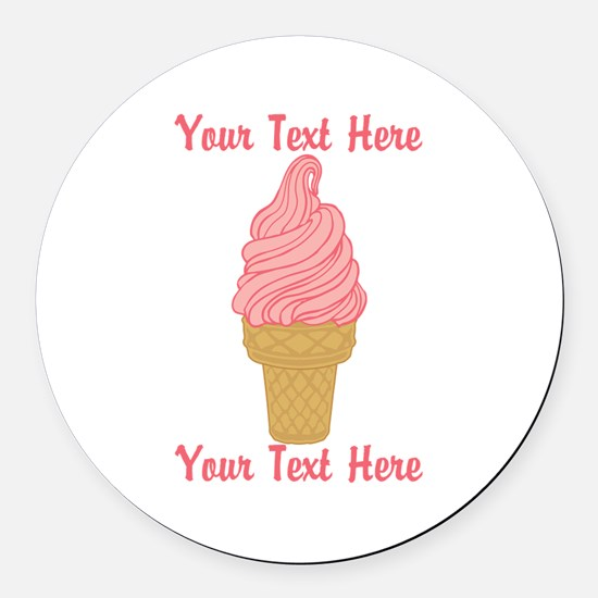 Personalized Pink Ice Cream Round Car Magnet
