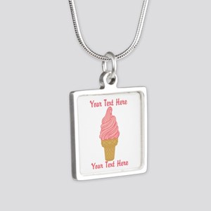 Personalized Pink Ice Crea Silver Square Necklace