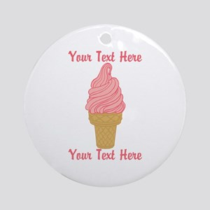 Personalized Pink Ice Cream Ornament (Round)