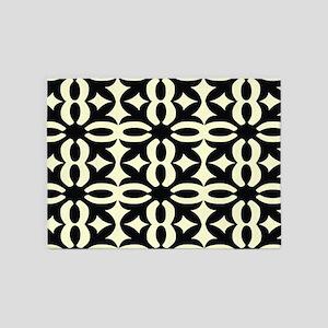 Black Victorian Lace 5'x7'Area Rug
