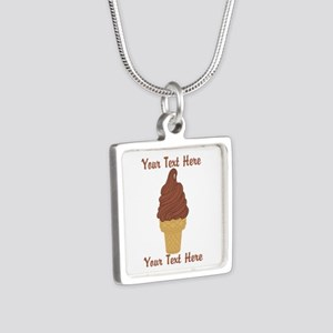 Personalized Chocolate Ice Silver Square Necklace