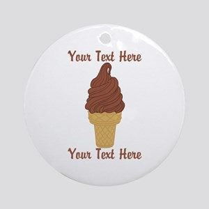 Personalized Chocolate Ice Cream Ornament (Round)