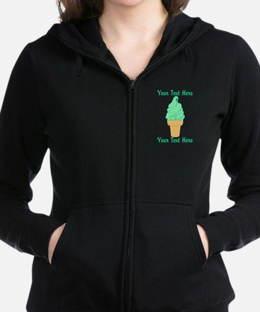 Personalized Mint Ice Cream Women's Zip Hoodie