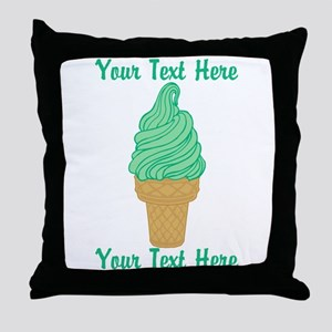 Personalized Mint Ice Cream Throw Pillow