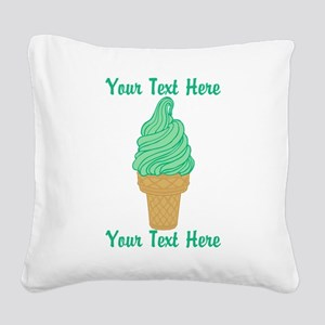 Personalized Mint Ice Cream Square Canvas Pillow