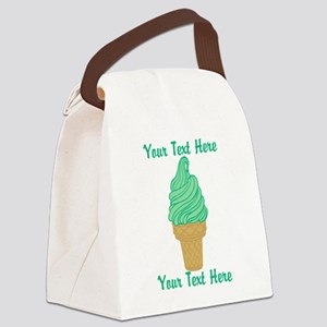 Personalized Mint Ice Cream Canvas Lunch Bag