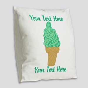 Personalized Mint Ice Cream Burlap Throw Pillow