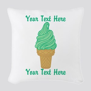 Personalized Mint Ice Cream Woven Throw Pillow