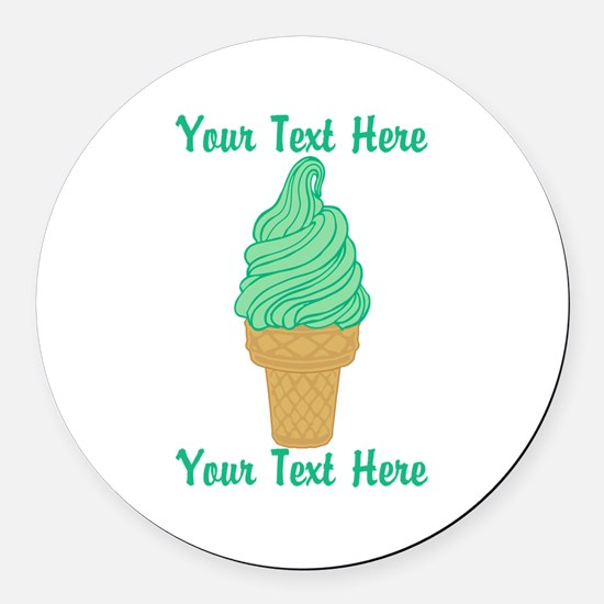 Personalized Mint Ice Cream Round Car Magnet
