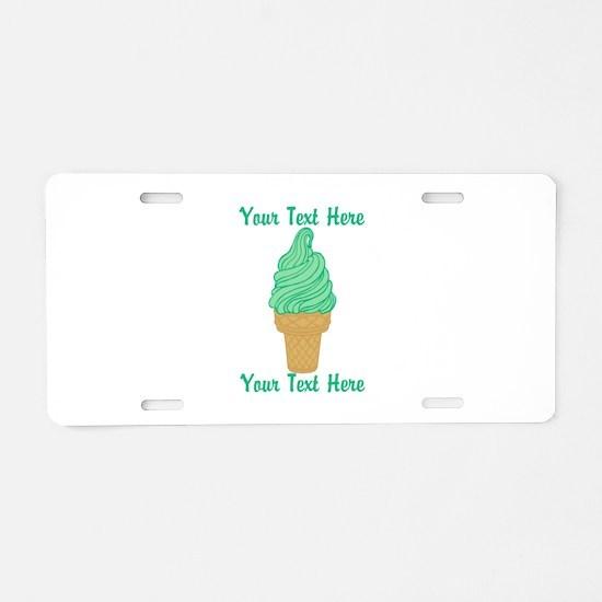 Personalized Mint Ice Cream Aluminum License Plate