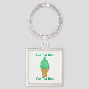 Personalized Mint Ice Cream Square Keychain