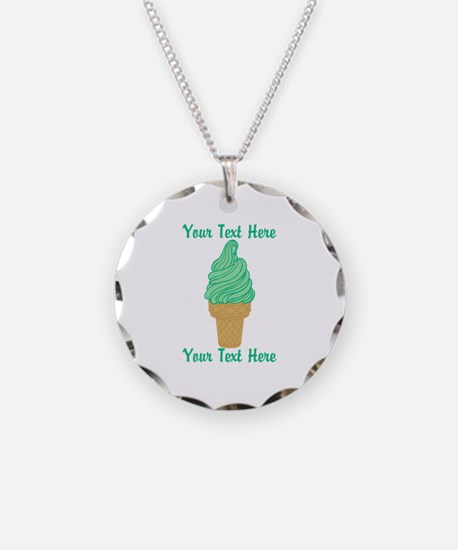 Personalized Mint Ice Cream Necklace Circle Charm