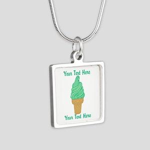 Personalized Mint Ice Crea Silver Square Necklace