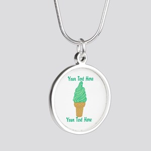 Personalized Mint Ice Cream Silver Round Necklace
