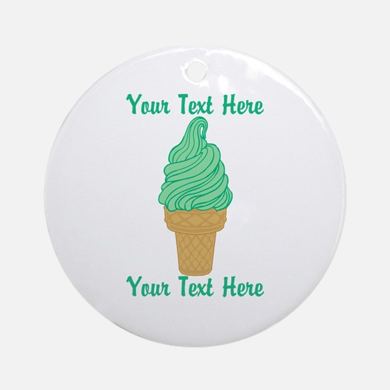 Personalized Mint Ice Cream Ornament (Round)