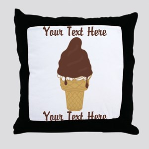 PERSONALIZED Chocolate Dip Ice Cream Throw Pillow