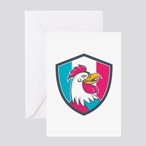 French Rooster Head France Flag Shield Cartoon Gre