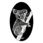 Midnight Koala Oval Sticker