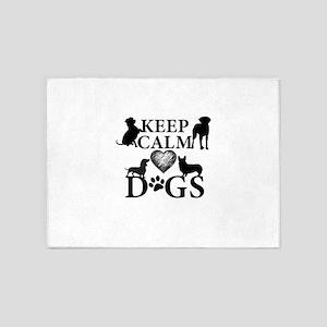 Keep Calm and Love Dogs 5'x7'Area Rug
