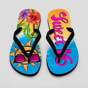 Sweet 16 Beach Party Flip Flops