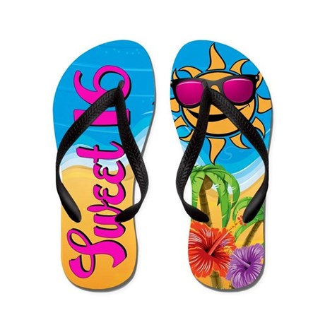 Sweet 16 Beach Party - Flip Flops Funny Thong Sandals Beach Sandals