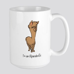 Standing Brown Alpaca Large Mug