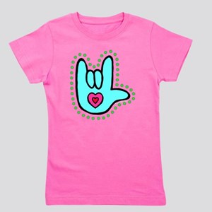 Aqua Bold Love Hand T-Shirt