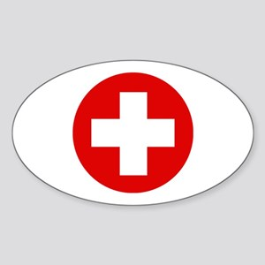 First Aid Kit Oval Sticker