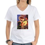 Mandolin Angel/Rottweiler Women's V-Neck T-Shirt