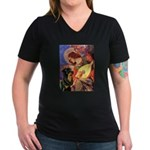 Mandolin Angel/Rottweiler Women's V-Neck Dark T-Sh