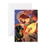 Mandolin Angel/Rottweiler Greeting Cards (Pk of 10