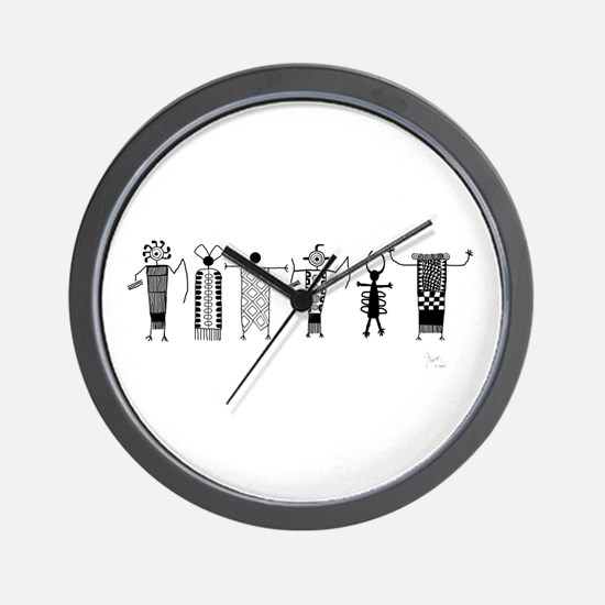 Group of Petroglyph Peoples Wall Clock