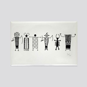 Group of Petroglyph Peoples Rectangle Magnet